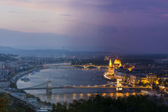 Time flying over Budapest Stock Images