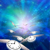 Time flys. Winged Clocks count off the hours Stock Photography