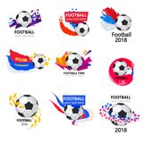 It is time for football. Vector illustration of The World Cup began. Sporting competition or club emblem with brush design. Football background sport place for stock illustration