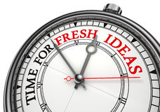 Time for fresh ideas concept clock. Closeup on white background with red and black words Royalty Free Stock Image