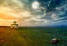 Time of the full moon. Evening landscape with full moon and church stock image