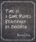 Time game Heraclitus quote stock photos