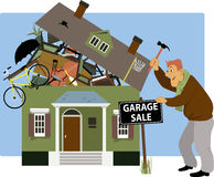 Time for a garage sale. Man putting up a garage sale sign in front of a house, overrun with stuff, vector cartoon stock illustration