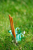 Time for garden now�. decorative small gardening tools and sno Stock Photo
