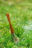 Time for garden now�. decorative small gardening tools Stock Image