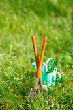 Time for garden now…. decorative small gardening tools and sno Stock Photos