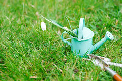 Time for garden now…. decorative small gardening tools and sno Stock Photography