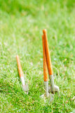 Time for garden now…. decorative small gardening tools and sno Stock Images