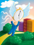 Time is getting away. Illustration of a man trying to catch and hold time Stock Image