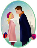 Time for gifts. Man and woman are standing outside, ready to give each other a present Stock Images