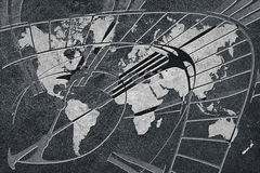Time for global business. World Map with a clock. Time for global business Stock Photo