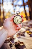Time goes by: vintage watch outdoors, hand-held; wood and leaves. Hand held stop watch outdoors, autumn, blurry background time goes clock duration vintage speed royalty free stock photo