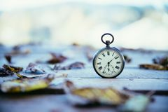 Time goes by: vintage watch outdoors; wood and leaves. Vintage pocket watch on a wood board, colourful leaves, autumn time goes clock duration speed up period royalty free stock images