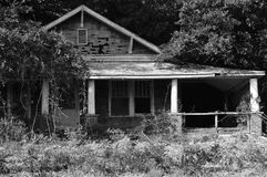 Time gone by. Here is a black and white photo of a old house being overtaken by trees Stock Photos