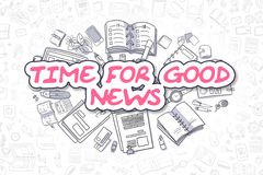 Time For Good News - Cartoon Magenta Word. Business Concept. Royalty Free Stock Photos