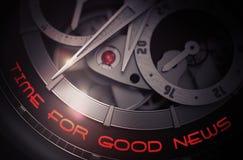 Time For Good News on Luxury Men Wrist Watch Mechanism. 3D. Stock Photos