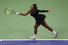 23-time Grand Slam champion Serena Williams in action during her 2018 US Open final match against Naomi Osaka Stock Photography