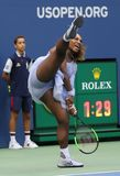 23-time Grand Slam champion Serena Williams in action during her 2018 US Open round of 16 match at National Tennis center Stock Image