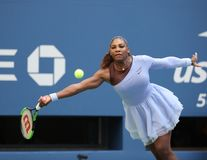 23-time Grand Slam champion Serena Williams in action during her 2018 US Open round of 16 match at National Tennis center Stock Photos