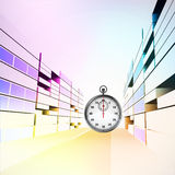 Time guard stopwatch in colorful city street  Royalty Free Stock Photos