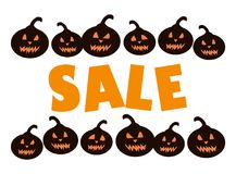 Time for halloween sale. Sale advertisement with pumpkins. Halloween theme clean design Stock Images