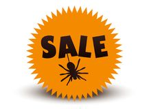 Time for halloween sale icon with spider. Time for halloween sale. Sale advertisement with spider. Halloween theme clean design Royalty Free Stock Photography