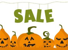 Halloween sale with happy pumpkins. Time for halloween sale. Sale advertisement with a lot of pumpkins. Halloween theme clean design Stock Images