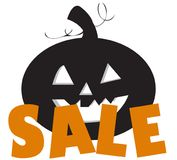 Halloween sale with pumpkin. Time for halloween sale. Sale advertisement with pumpkin. Halloween theme clean design Stock Photo
