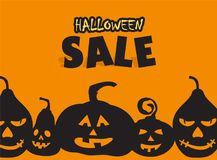 Time for halloween sale. Sale advertisement with pumpkins. Halloween theme clean design Stock Image