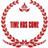 TIME HAS COME red laurels badge. Stock Image