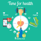 Time for healthy concept flat icons of jogging, gym, food, metrics. Illustration and modern design element stock illustration