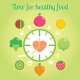 Time for healthy food info graphic clock. Modern illustration and design element royalty free illustration