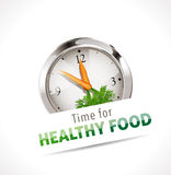 Time for healthy food sign. In front of clock with carrots in place of hands, white background Royalty Free Stock Photos