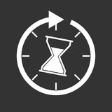 Time icon. Flat vector illustration with hourglass on black back vector illustration