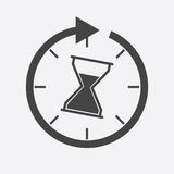Time icon. Flat vector illustration with hourglass on white back vector illustration