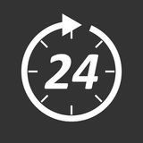Time icon. Flat vector illustration 24 hours on black background Stock Photography