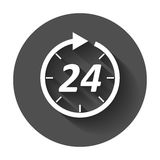 Time icon. Flat vector illustration 24 hours with long shadow Royalty Free Stock Photos