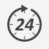 Time icon. Flat vector illustration 24 hours on white background.  Royalty Free Stock Images
