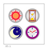 TIME: Icon Set 05 - Version 1. 4 colored icons in a circle shaped buttons about time. Please check the complete set and other versions Royalty Free Stock Images