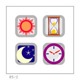 TIME: Icon Set 05 - Version 2. 4 colored icons in a square shaped buttons about time. Please check the complete set and other versions Stock Image