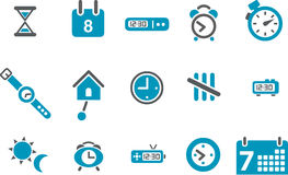 Time Icon Set. Vector icons pack - Blue Series, time collection Royalty Free Stock Image