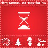 Time Icon Vector. And bonus symbol for New Year - Santa Claus, Christmas Tree, Firework, Balls on deer antlers stock illustration