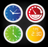 Time icons. Over black background vecor illustration royalty free illustration