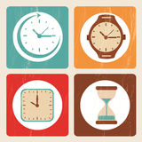 Time icons. Over beige background  illustration Royalty Free Stock Photos