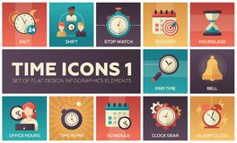 Time icons - modern set of flat design infographics elements Royalty Free Stock Photography