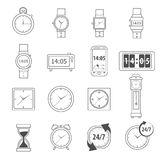 Time Icons Outline. Time symbols and 24 hour service icons outline set isolated vector illustration Royalty Free Stock Photography