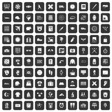100 time icons set black. 100 time icons set in black color isolated vector illustration Stock Images