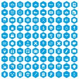 100 time icons set blue. 100 time icons set in blue hexagon isolated vector illustration Vector Illustration