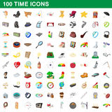 100 time icons set, cartoon style Royalty Free Stock Photography