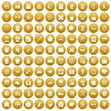 100 time icons set gold. 100 time icons set in gold circle isolated on white vector illustration Stock Illustration